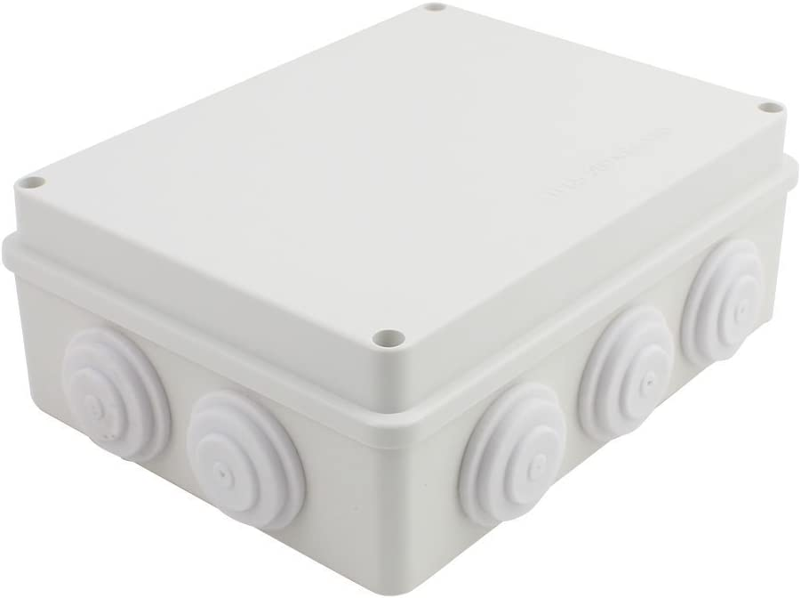 YXQ 200x155x80mm Electrical Junction Box w Holes IP65 Waterproof Dustproof Universal Electric Project Enclosure (7.9 x 6.1 x 3.1inches)