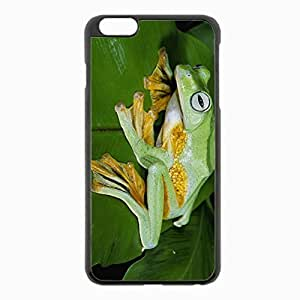 iPhone 6 Plus Black Hardshell Case 5.5inch - frog grass leaves Desin Images Protector Back Cover