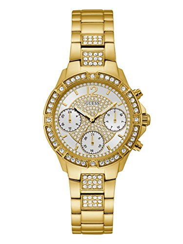 GUESS Women's Stainless Steel Crystal Watch, Color: Gold-Tone (Model: U1071L2)