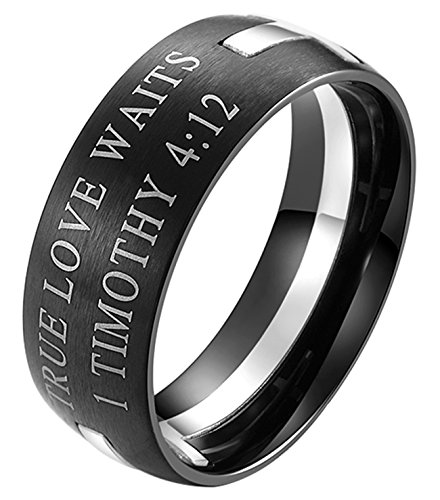 EZSONA Men's 8mm Stainless Steel Bible Verse Christian Purity Puzzle Ring 1 Timothy 4:12 Silver Size 11 (Male Purity Ring)