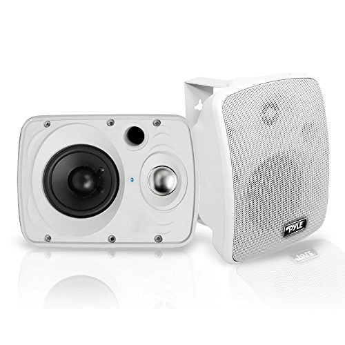 Universal Stereo Speaker System - Outdoor Waterproof Wireless Bluetooth Speaker - 6.5 Inch Pair 2-Way Weatherproof Wall/Ceiling Mounted Dual Speakers w/Heavy Duty Grill, Universal Mount, Patio, Indoor Use - Pyle PDWR64BTW (White)