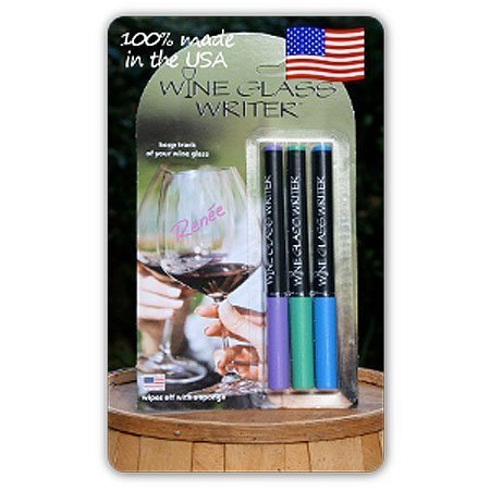 Wine Glass Writer Jewel Color 3-Pack - Wine Glass Antique