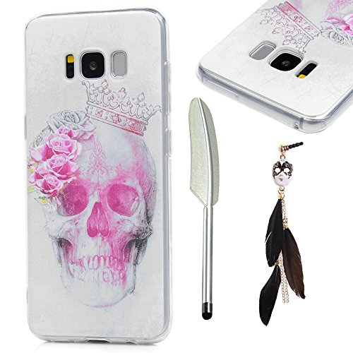 Metal Head Costume (MOLLYCOOCLE S8 Case,Fahion Colorful Painting Full Body Special Pattern Lightweight Soft Transparent Flexible TPU Material Protective Cover for Samsung Galaxy S8 - Crown Skull Head)