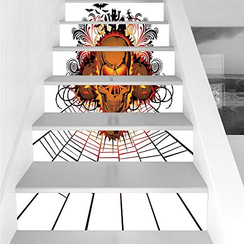 Stair Stickers Wall Stickers,6 PCS Self-adhesive,Halloween Decorations,Angry Skull Face on Bonfire Spirits of Other World Concept Bats Spider Web,Multi,Stair Riser Decal for Living Room, Hall, Kids Ro
