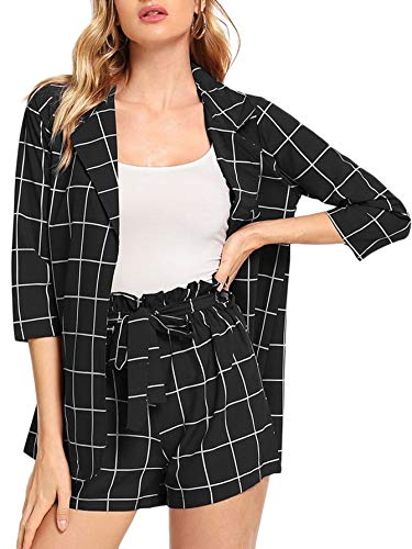 SheIn Women's 2 Pieces Plaid Thin 3/4 Sleeve Blazers and Self Tie Waist Shorts Set Black Black Belted 3/4 Sleeve
