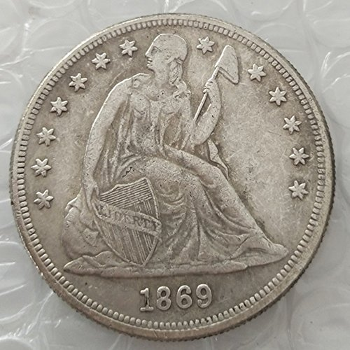 Rare Antique United States 1869 Seated Liberty Silver Color Dollar Coin