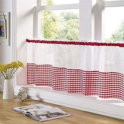 Rouge Et Blanc Vichy 59 X 24 150cm X 61cm Cuisine Café Panneau Rideau