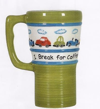 I Break For Coffee Car Themed Ceramic Travel Mug with Lid