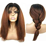 N.L.W. Brazilian human hair lace front wigs for black women T1b/30 Ombre color Glueless Italian yaki kinky straight human hair wigs with baby hair 14 inches
