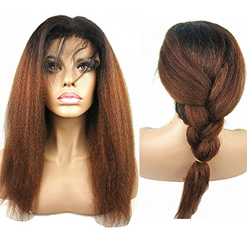 N.L.W. Brazilian human hair lace front wigs for black women T1b/30 Ombre color Glueless Italian yaki kinky straight human hair wigs with baby hair 14 inches by N.L.W.