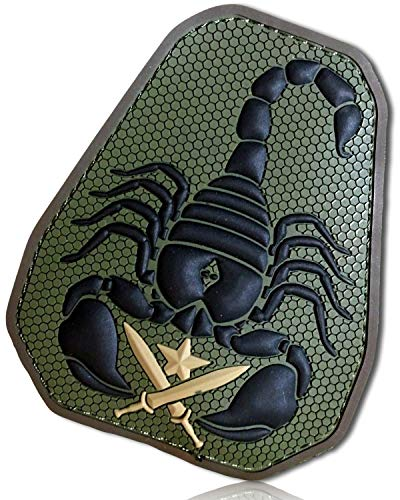 "Forest Foliage Camouflage Poisonous Toxic Desert Creatures Monster Armored Scorpion Crossed xiphos Swords Bladed Shield Combat Hook & Loop Fastener Patch [3.75"" x 3""] + Certificate"