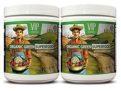 Organic carrots seeds - ORGANIC GREENS SUPERFOOD POWDER WITH NATURAL BERRY FLAVOR - heart health 2 Cans - 276 Grams 9. 7 Oz each can