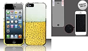 Combo pack For iPhone 5 - Rubberized Design Cover - Beer Bubbles And MYBAT Glitter LCD Screen Protector/Silver for APPLE iPhone 5