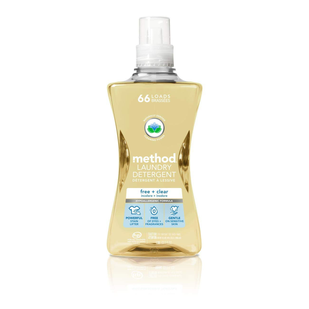 Method Laundry Detergent, Free + Clear, 53.5 Fluid Ounces, 66 Loads