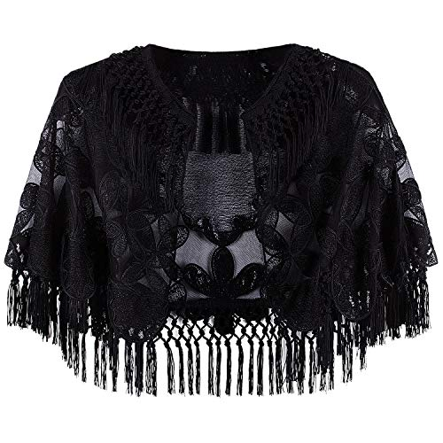 VIJIV Women's 1920s Evening Cape Formal Gowns Shawl Bolero Embroidered Fringe Black Capelet Flapper Cover Up for Wedding Wear