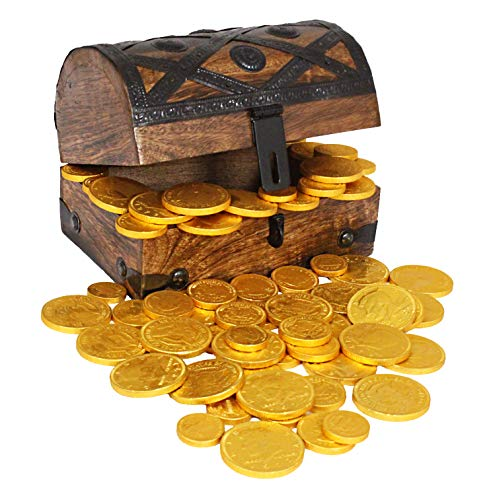 Chocolate Gold Coins In Wooden Pirate Treasure Chest Box Large 7x5x4.5 Foil 50-70 (8oz) Coin Belgium Chocolate by Well Pack Box