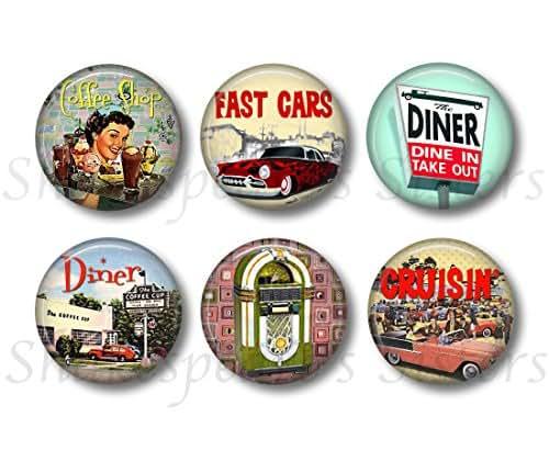 Retro 1950s - Fridge Magnets - Vintage Diner - 6 Magnets - 1.5 Inch Magnets - Cute Fridge Magnets - Retro Kitchen Decor