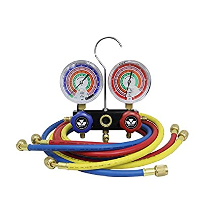 Image of Automatic Irrigation Equipment MASTERCOOL (57136 Black Aluminum R410A, R22, R404A 2-Way Manifold Set with 3-1/8' Gauges, 3-36' Hoses and Standard 1/4' Fittings