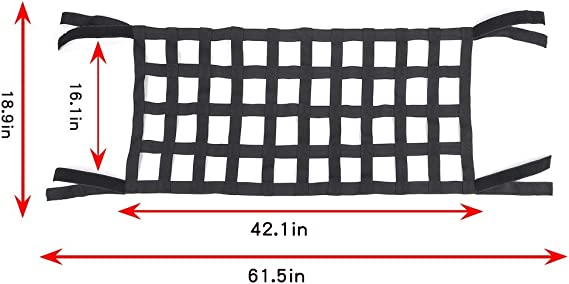 Bosmutus Rear Top Cargo Net For J Eep Wrangler Car Roof Hammock Car Bed Rest J Eep Wrangler Accessories Jk Jku Yj Tj Jl Jlu 1996 2021roof Storage Roll Cage Bar Restraint Auto