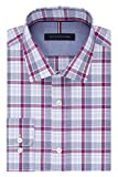 Tommy Hilfiger Mens Non Iron Slim Fit Plaid Spread Collar Dress Shirt