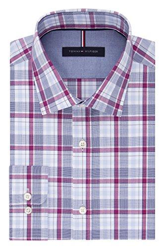"Tommy Hilfiger Men's Non Iron Slim Fit Plaid Spread Collar Dress Shirt, Navy Multi, 16.5"" Neck 34""-35"" Sleeve"