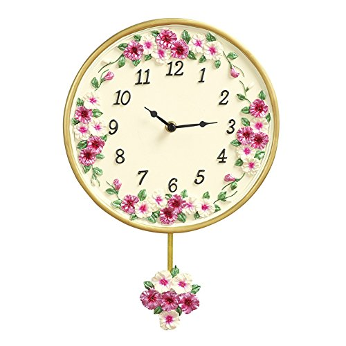 Collections Etc Morning Glory Floral Pendulum Clock, Pink