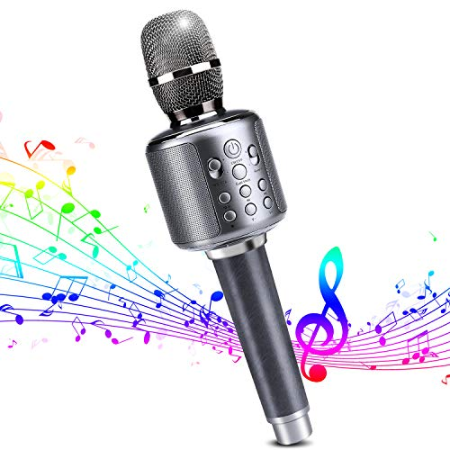 Wireless Bluetooth Karaoke Microphone Premium Portable Handheld Microphone Built-in Speaker with Multi-Function Professional Karaoke Rechargeable Player for iPhone/Android/iPad/PC etc. (y11s) ()