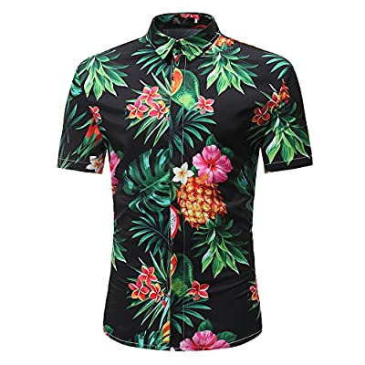 OUBAO T Shirt for Men Short Sleeves Button Down Hawaiian Work Wear Shirts Tanks Slim Tops Bottom Blouse Slim