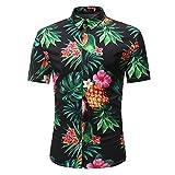 Summer Man Fashion Retro Floral Printed Blouse Casual Short Sleeve Slim Shirts Tops Tee (Black, 2XL)