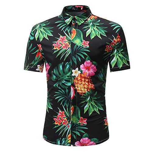 Men's Flower Print Hawaiian Aloha Shirt,Casual Button Down Short Sleeve Shirts Tee Tops (M, Black) ()