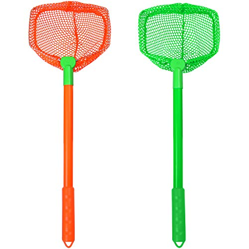 Elcoho 2 Pieces Kids Fishing Nets Bug Net Kids Beach Toys Nets Catch Butterflies Nets for Kids Outdoor (Green+Orange)