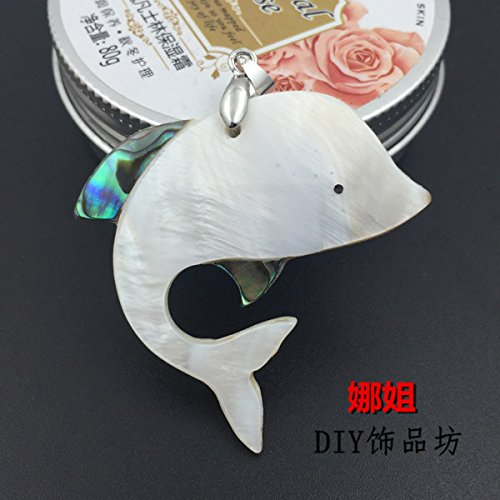 usongs Natural white shell necklace pendant shell necklace pendant dolphin sweater chain women girls models clavicle chain naked single-sided hanging hanging 48 63MM