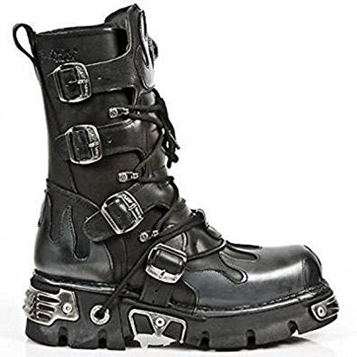 NEWROCK New Rock 591-S2 Silver FLAME METALLIC BLACK LEATHER BOOT BIKER GOTH BOOTS hpIm67C
