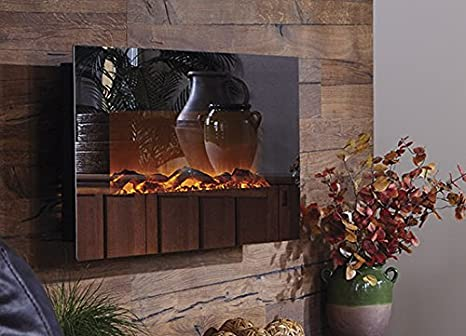 Touchstone Mirror Onyx Wall Mount Electric Fireplace with Mirror Glass