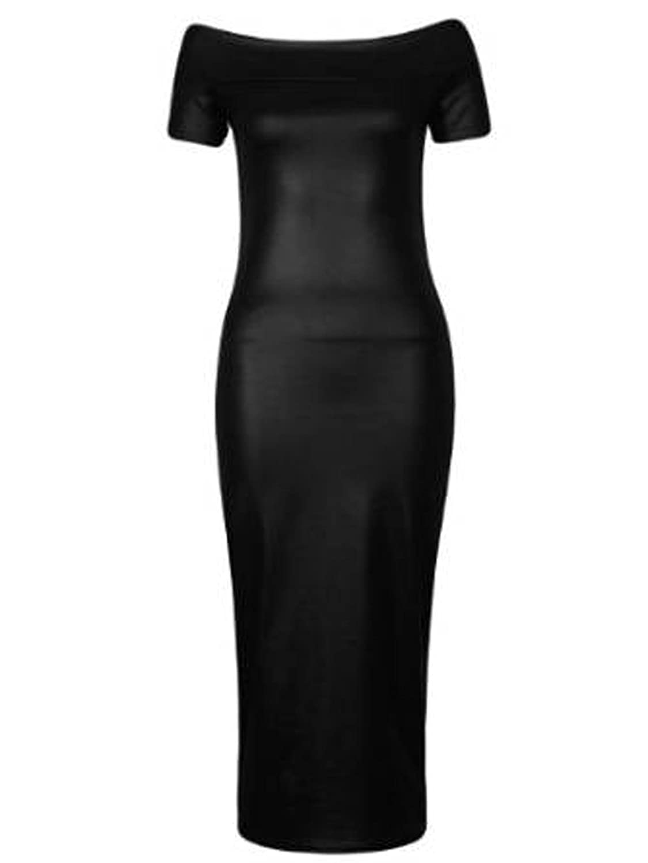 Girls Walk Women's Celebrity Inspired Wetlook Long Midi Dress