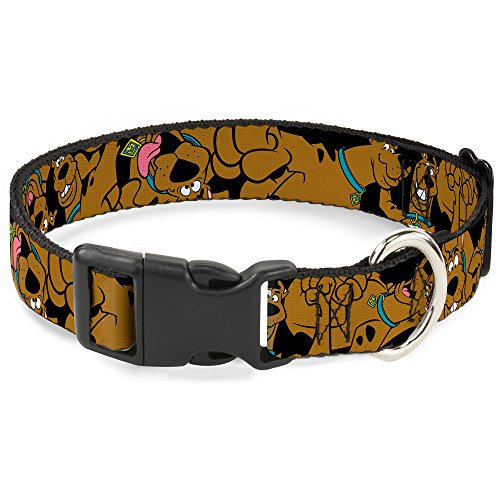 Buckle-Down Scooby Doo Stacked CloseUp Black Plastic Clip Collar, Large/15-26