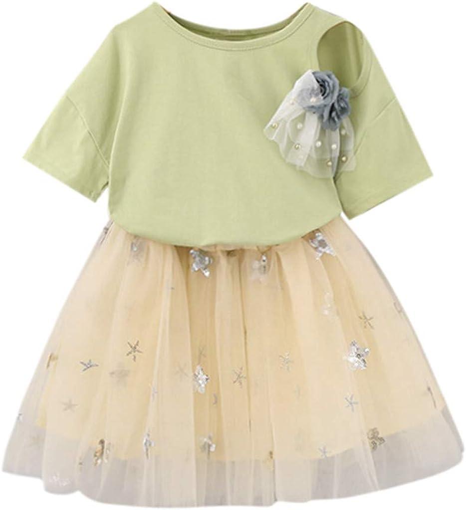Julhold - Camiseta de tul con broche para niña + falda de tul gris amarillo con estrellas para niños de 2 a 7 años