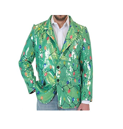 Sequin Christmas Lights Green Ugly Christmas Suit Jacket (Small/Medium) (Mens Christmas Suits)