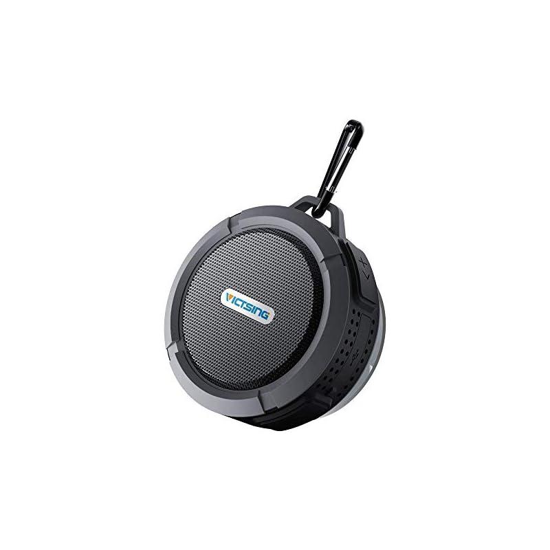 VicTsing Upgraded Shower Speaker, Wireless Waterproof Speaker with 5W Driver, Suction Cup, Built-in Mic, Hands-Free Speakerphone, Grey