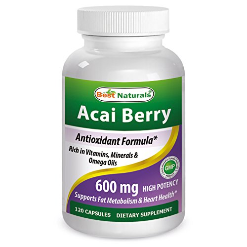 - #1 Acai Berry 600mg per Serving by Best Naturals -- 100% Pure High Potency -- Supports Fat Metabolism -- Manufactured in a USA Based GMP Certified Facility and Third Party Tested for Purity. Guaranteed!! (120 Caps)