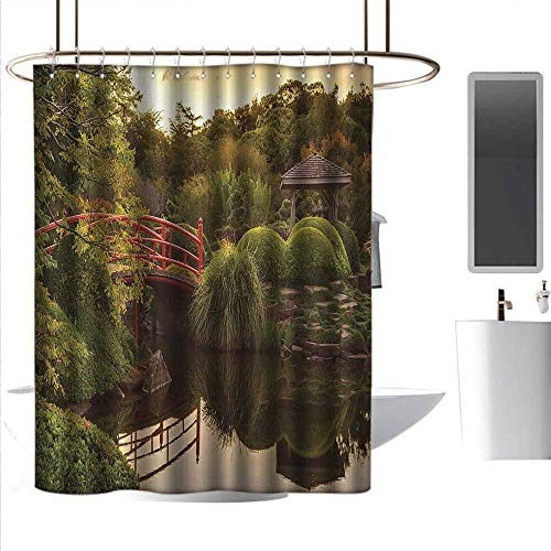 (coolteey Shower Curtains Japanese,Peaceful Garden in Twilight with Reflections in Water Red Bridge on Pond Sunset,Green Yellow,W48 x L84,Shower Curtain for Kids)