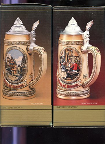 (2 Anheuser-Busch Tomorrow's Treasures Stein Tavern Public House Festival Village Scene IV V)