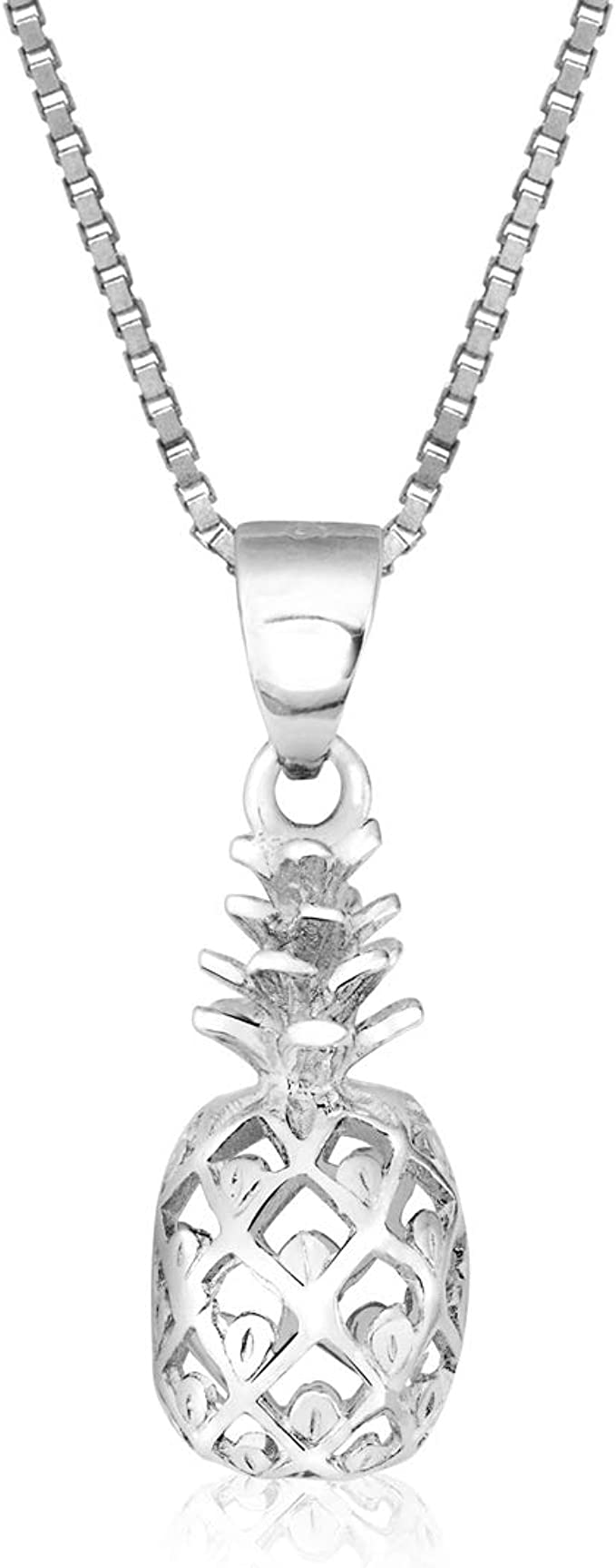 Choice of Chain 925 Sterling Silver Pineapple Pendant