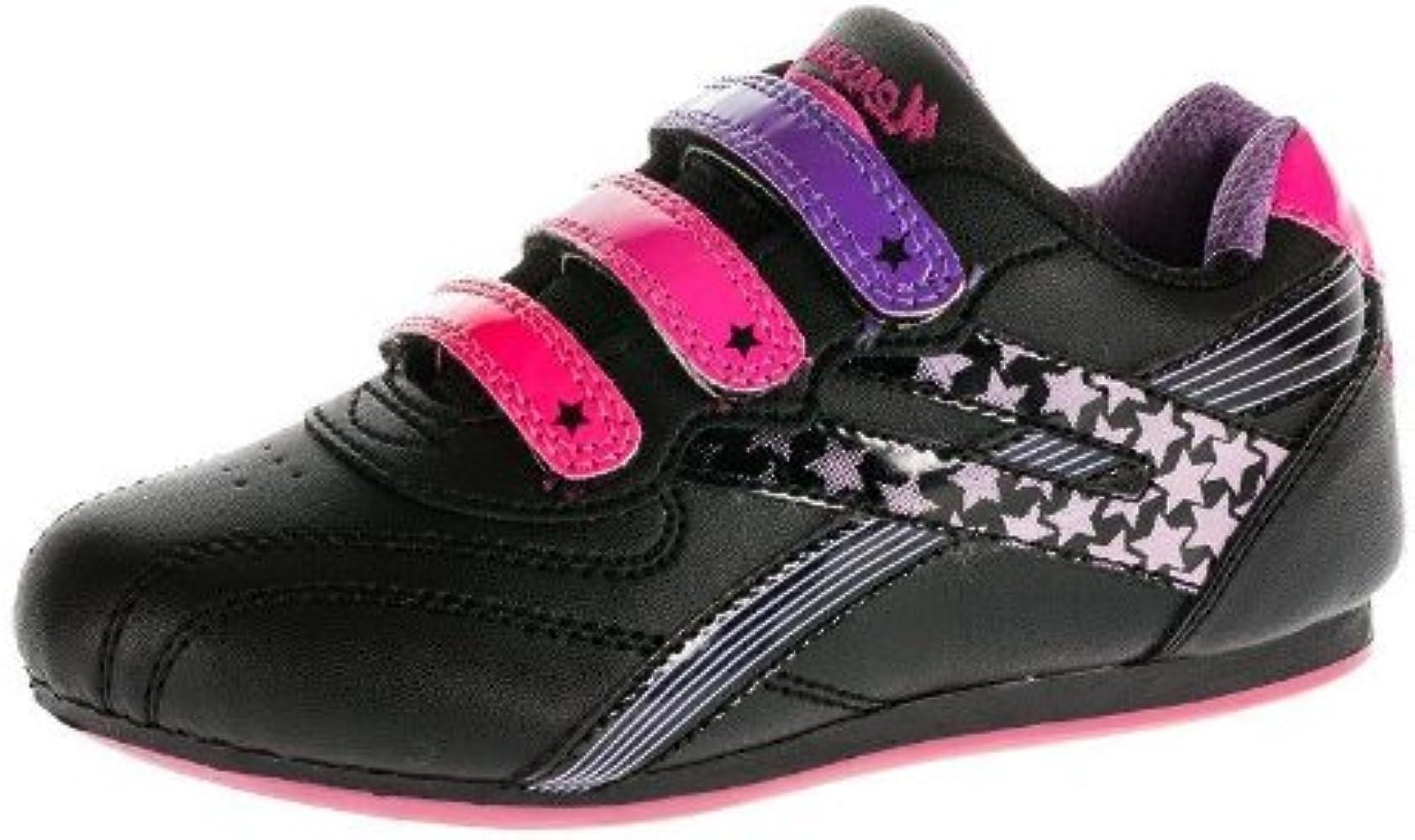 girls velcro black trainers