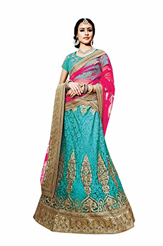 IWS Womens Turquoise Striking Lehenga Choli With Embroidery Work 79974