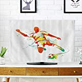 L-QN Cord Cover for Wall Mounted tv Player Kicks The Ball Competitis Paint Splashes Speed Boots Cover Mounted tv W19 x H30 INCH/TV 32''