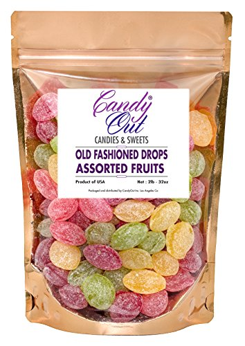 (Assorted Fruits Drops 2 Pounds Old Fashioned Hard Candy in CandyOut Sealed Stand Up Bag)
