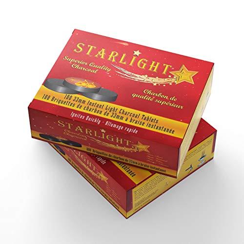 Garden & Lawn Supply Starlight Charcoal Quick Lite Hookah Shisha Coals Outdoor/Home/Garden/Supply/Maintenance, Box of 100