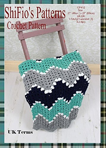 Crochet Pattern-KP412-ripple baby blanket afghan-UK Terminology Crochet Baby Ripple Afghan