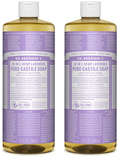 Dr. Bronner's Pure-Castile Liquid Soap Value Pack - Lavender 32oz. (2 Pack) (Homemade Cleanser Facial)